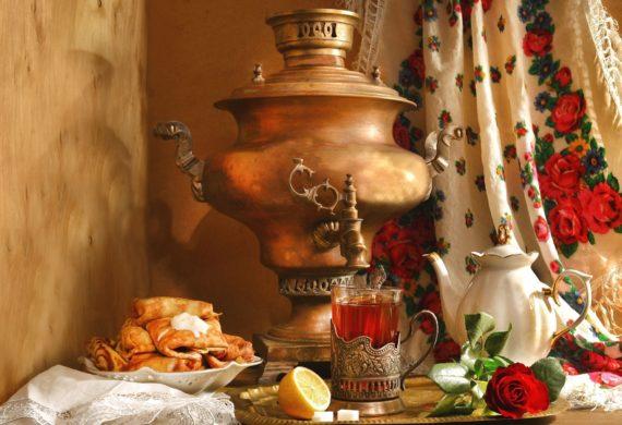 чай с лимоном самовар